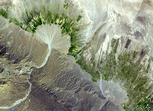 Alluvial Fan, Iran - Pathological Geomorphology